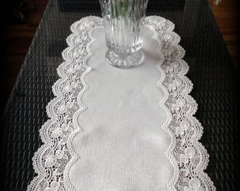 """34"""" x 16"""" Rose Lace Dresser Scarf Antique White Table Runner"""