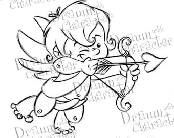 Valentine's Cupid Shooting Arrow Digital Stamp Art/ KopyKake Image-  SP21-CUPID1