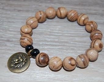 Lion Bracelet,Wenga Wood Bracelet,12mm Wood Beads,Lion head,Gift for Him,Bracelet for Men,Leo Lion Bracelet,Man,Wood Bracelet,Gift