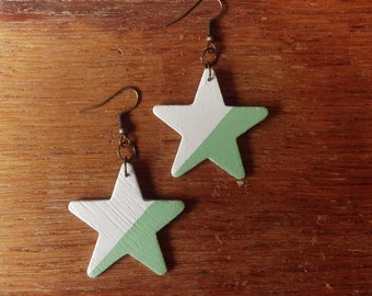 Star Earrings  | Star Wooden Earrings | Hand painted Earrings | Wooden Earrings
