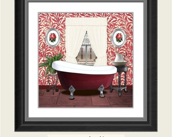 SALE Red Burgundy Bathroom Printable Art Print Wall Decor INSTANT DOWNLOAD Digital Old Picture 8x8 inches 1/2 price