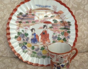 Vintage Asian, Decorative Plate and Small Tea Cup, Kutani-like