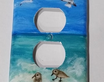 Decorative Tropical Beach Sand Birds Light Switch Plate & Outlet Cover, Hand Painted Nautical Beach Switch Plates, Beach Glass Ornament