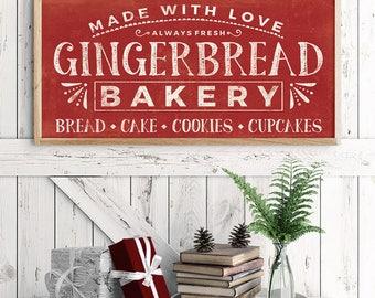 Vintage Christmas Decor - Rustic Holiday Print - Gingerbread Bakery - Bakery Print - Gingerbread Print - Holiday Print - Christmas Print