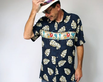 Chemise chemise Vintage StyleTropical Hawaiian Floral barman Cocktail Pierre hommes Cardin taille moyenne