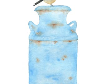"Watercolor Chickadee Painting & Milk Can Giclee Print 8""x10"", Chickadee Sketch, Watercolor Country Art, Farmhouse Art, Chickadee Art"