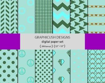 Aqua green Digital Paper,  Patterns, Geometric Background, Aqua Digital Graphics,  Scrapbook Paper Crafts, Aqua PNG files dropbox download