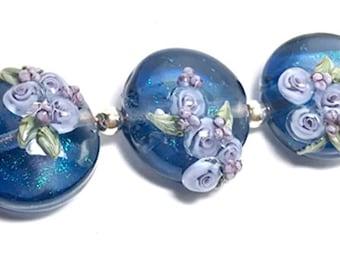 Mermaid's Garden, handmade lampwork beads, set of 3