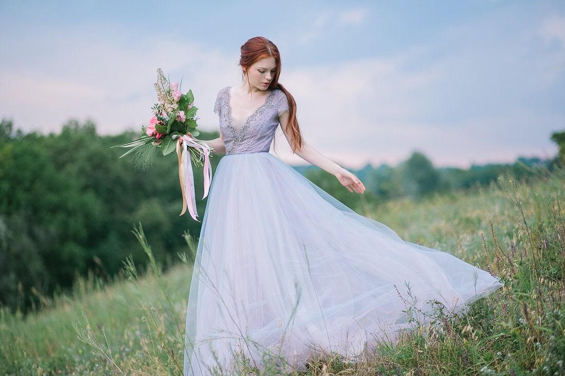 Tüll Brautkleid / / Lavanda / Spitze Kleid Tasse Ärmel