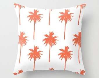 Palm Tree Pillow Cover - Palm Tree Throw Pillow Cover - Coral Pillow Cover - Nautical Pillow Cover - Nautical Decor - Summer Decor