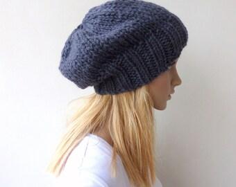 Mens Grey Slouchy beanie Womens Gray knit hat Knit slouch hat in wool alpaca blend unisex winter hat