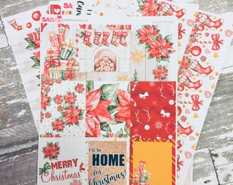 Red Christmas Weekly Kit | Stocking Weekly Sticker Kit | Erin Condren Vertical Weekly Kit | Planner Sticker