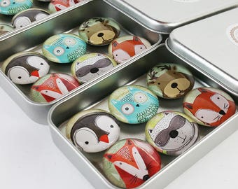 Animal Fridge Magnets, Fox Magnets, Woodland Pets Custom Magnets 6 Magnet Set Owl Penguin Raccoon Gift Refrigerator Magnets Party Favors M07