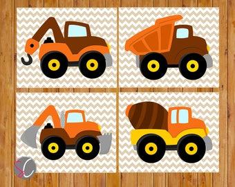 Boys Construction Trucks Wall Art Vehicles Play Room Bedroom Brown Orange Yellow set of  4  8x10 Digital JPG Files  Instant Download (ct5)