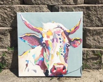 Moo Cow Handmade Painted Canvas MulticolorWall Hanging Wedding Bridal Shower Gift 12x12
