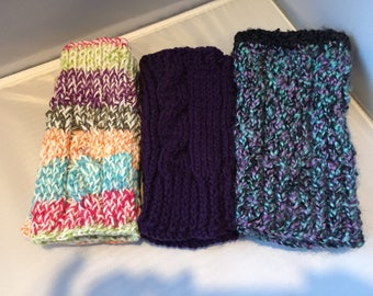 Fingerless gloves, handknit, fingerless mittens, purple,black, multicolored, green,blue, cable, handmade, mitts, mittens,winter,soft, warm
