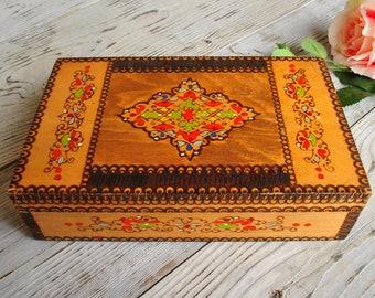 Vintage Wooden Box - Jewelry Box - Keepsake Box - Hand Carved Box - Memory Box - Vintage Jewellery Box - Small Jewelry Box - Box with Lid