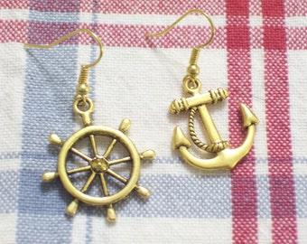 Asymmetrical Antiqued Gold Plated Ship Wheel and Anchor Earrings, Pierced Dangle Earrings, Beach Earrings, Nautical Earrings, Beach Jewelry