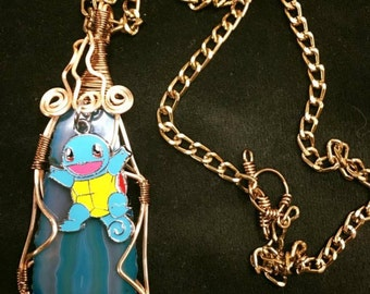 one of a kind Squirtle blue agate wire wrapped pendant