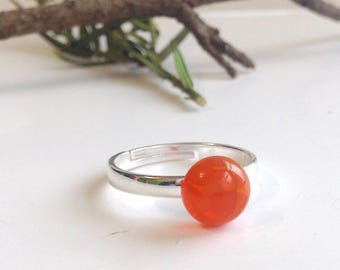 Orange Carnelian Ring on 925 Sterling Silver Band, Round 8mm Stone, Bright Fiery Orange, Adjustable for sizes 6, 7, 8. Simple, Minimalist