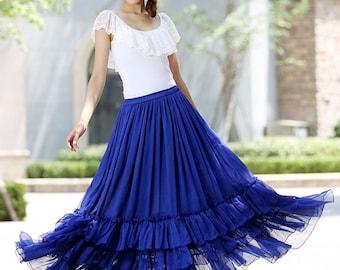 royal blue skirt, long skirts for women, maxi chiffon skirt, tiered skirt, summer skirt, boho skirt, wedding skirt, custom made skirt (1018)