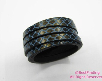1meter 5mm flat leather 5x2mm Blue vein Hematite/gold leather cord