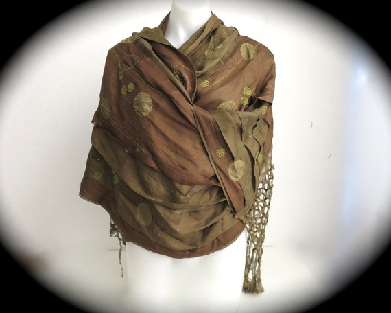 Jamin Puech wrap / stole / throw in olive green & coffee colors, long fringe, appliques, stitching, pleating, hidden sequins, 290cm long