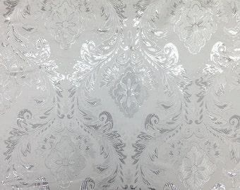 White / Silver Metallic Floral Brocade Fabric
