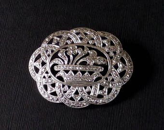 ART DECO Sterling Brooch Large FLOWER Basket Prong-set Marcasite Openwork, Antique Womens Jewelry, Wedding Bride Mothers Day Gift for Her