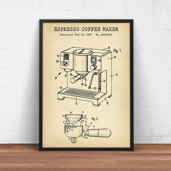Espresso coffee maker patent print digital download blueprint malvernweather Images