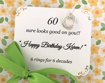 60th BIRTHDAY Gift Necklace for Women Sterling Silver Connected Rings 6 rings for 6 Decades Birthday Gift for Mom 6 Circles Connected