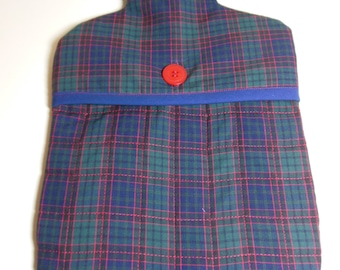 Hot Water Bottle Cover - Blue Check Fabic