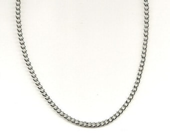 Oxidized Curb Chain, 3mm thick 925 Sterling Silver Antique Oxidize Curb Necklace, Vintage Look, 12 inch to 40 inch, Layering Chain