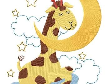 Sleepy Giraffe on Moon Embroidered on Hand Towel or Tea Towel - LITTLE DREAMERS