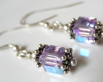 Purple Swarovski Crystal Cube Earrings - Lavender AB - Bali Sterling Silver - Crystal Cube Dangles- Purple Earrings - Minimalist Earrings