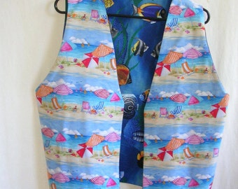 Beach Theme and Tropical Fish Theme Reverse Side ladies Vest