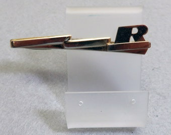 Initial R Vintage Tie Clip, Lightning Bolt Design, Hickok, 1960s Tie Clasp