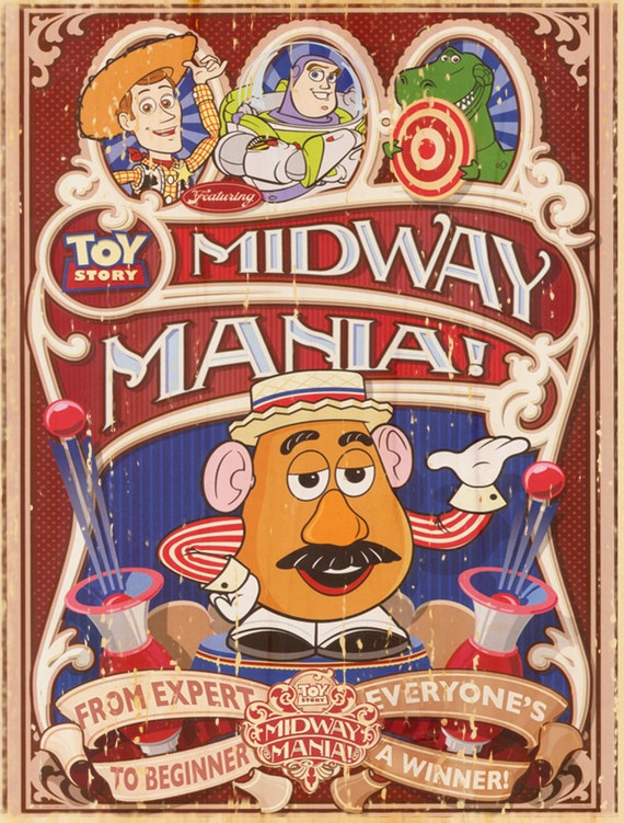 Vintage Disney Midway Mania Attraction Poster Wall Art