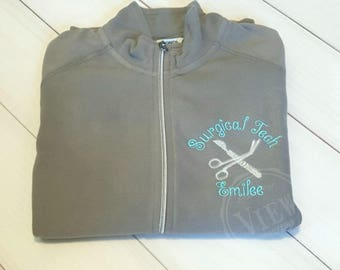 Women's surgical tech fleece jacket- surgical tech with scalpel and scissors-your choice of font and thread colors