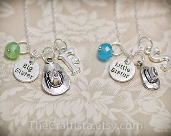 Personalized Big Sister Little Sister Necklace With Birthstone and Initial, Big Sis Lil Sis Necklace, Cowgirl Sisters Necklace, Cowgirl Hat