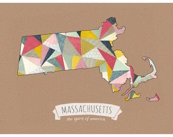 Massachusetts Patterns -  Boston Cut Paper Print FREE SHIPPING