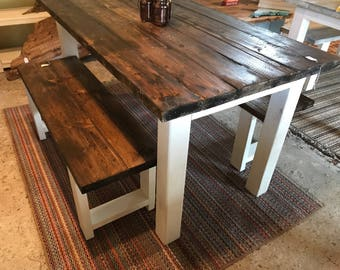 Small Farmhouse Table, Rustic Farmhouse Table With Benches, Espresso Dining  Set With White Base
