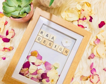 cusomised Photo Frame with real dried rose petals!
