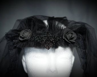 Black Veil with roses