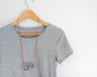 Porcelain double circle pendant necklace // dove grey glaze // red cord // grey necklace // red pendant / unisex necklace / ceramic necklace