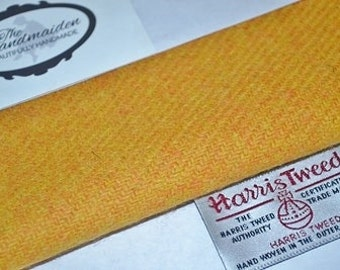 HARRIS TWEED FABRIC 100% pure virgin wool & authenticity labels yellow mustard  Various Sizes