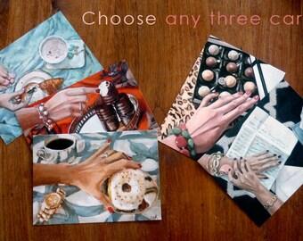 Postcard Set of 3 – your choice! // Frau Süß Series // Food Art // Cynthia Katz