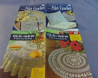 Crochet Patterns, Old and New Favorites and Filet Crochet, Coats & Clark Book No. 124 and 112, 1961 and 1959