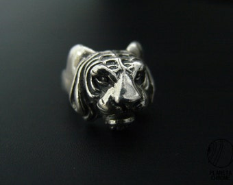 Round Plated silver tiger head ring