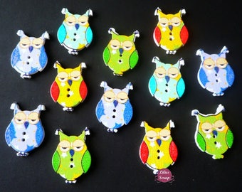 8 owls owls painted 3 cm - 2 holes wood buttons
